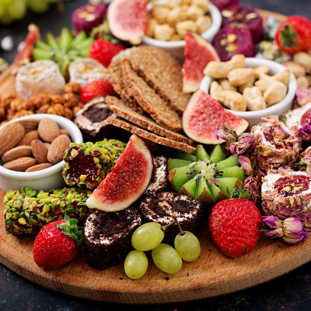 Mix fruits and nuts, healthy diet, Turkish sweets, eating lean.